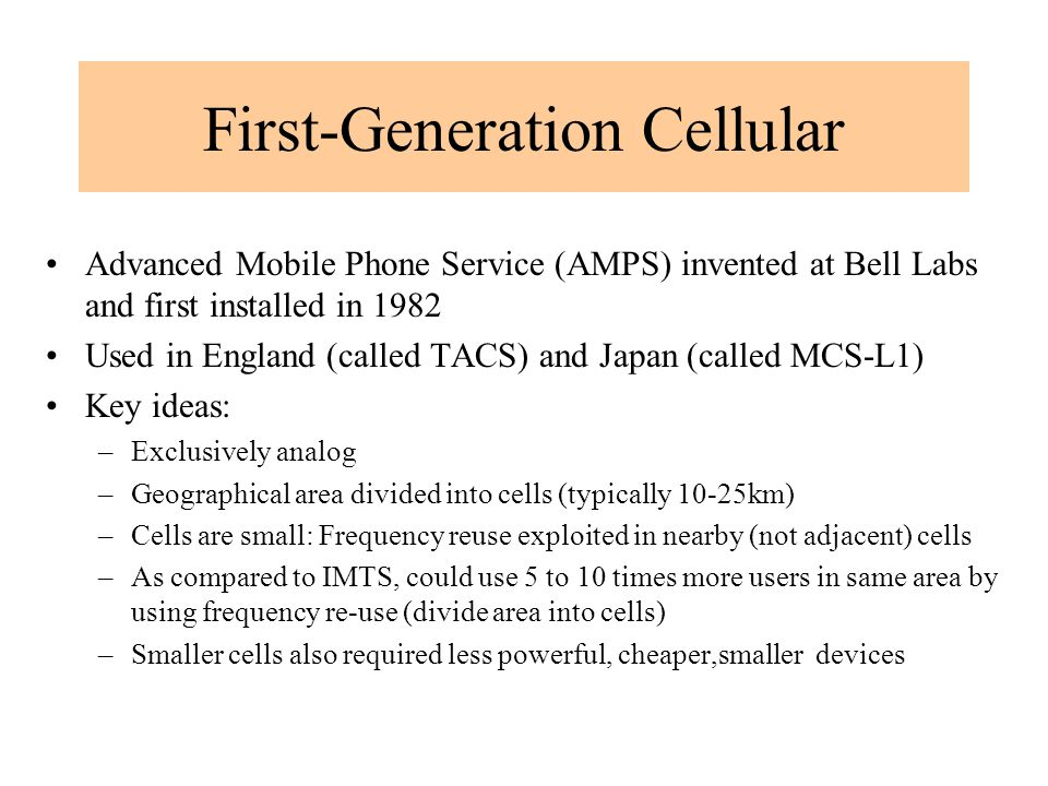First-Generation Cellular