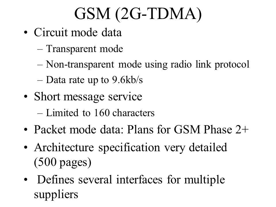 GSM (2G-TDMA) Circuit mode data Short message service