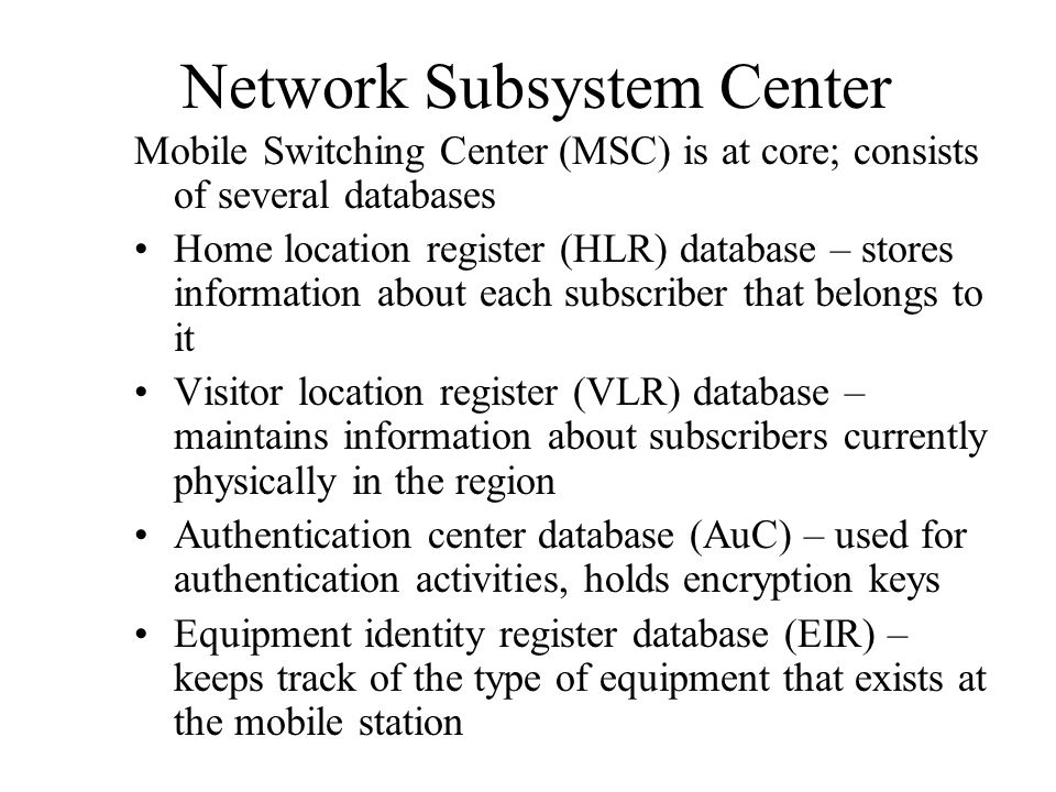 Network Subsystem Center
