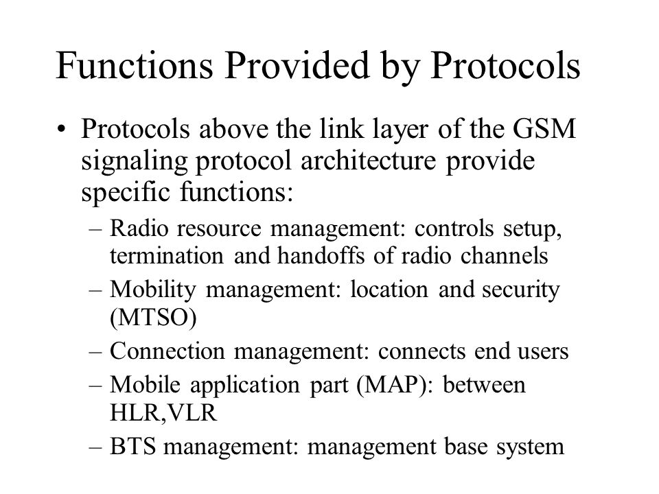 Functions Provided by Protocols