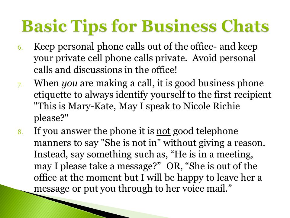 Basic Tips for Business Chats