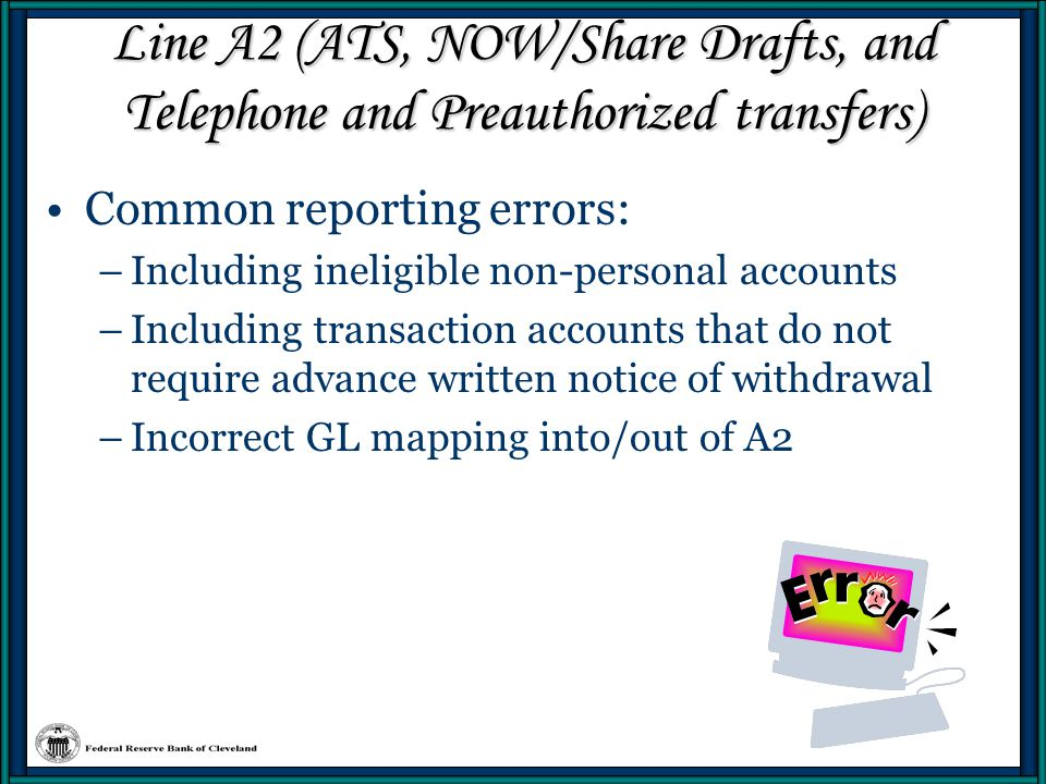 Line A2 (ATS, NOW/Share Drafts, and Telephone and Preauthorized transfers)