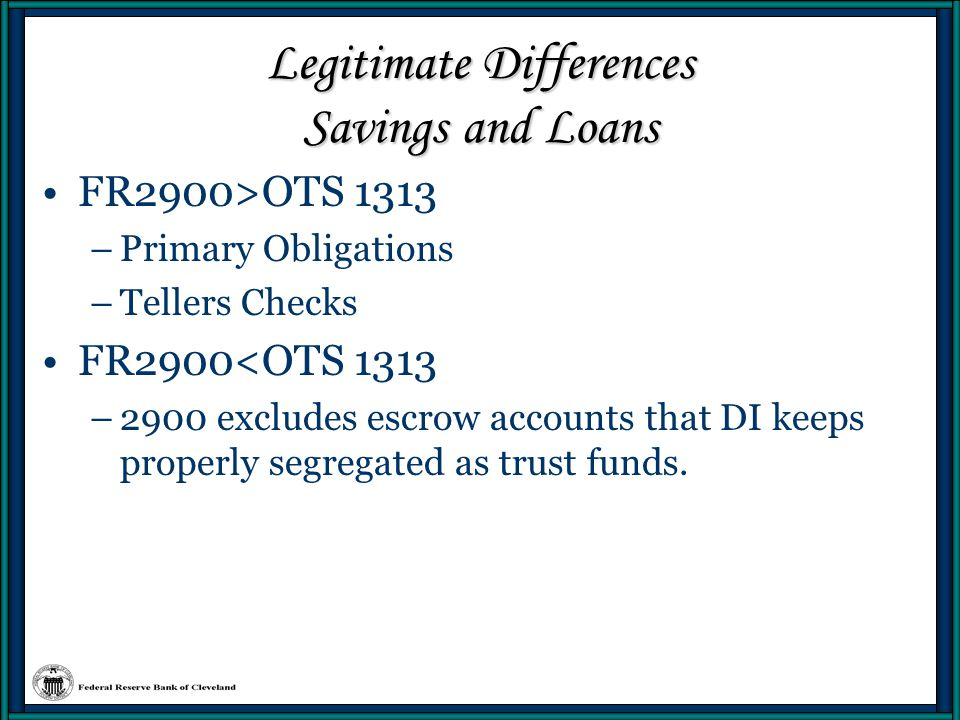 Legitimate Differences Savings and Loans