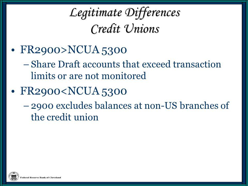 Legitimate Differences Credit Unions