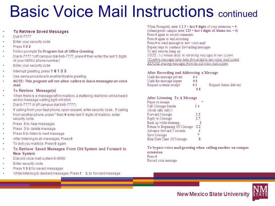 Basic Voice Mail Instructions continued