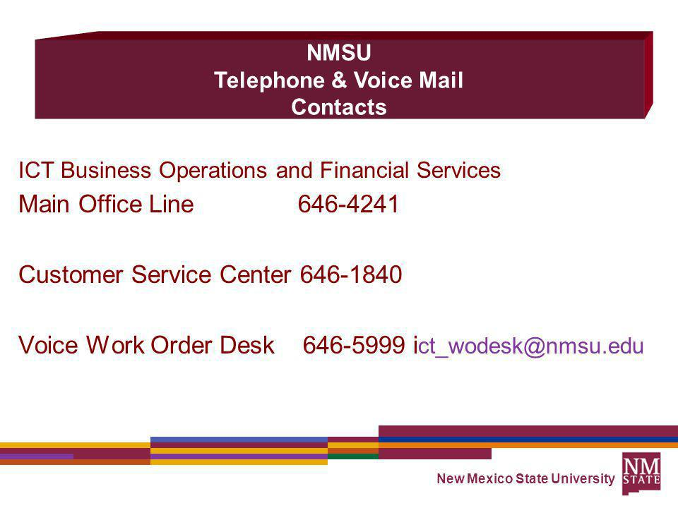NMSU Telephone & Voice Mail Contacts