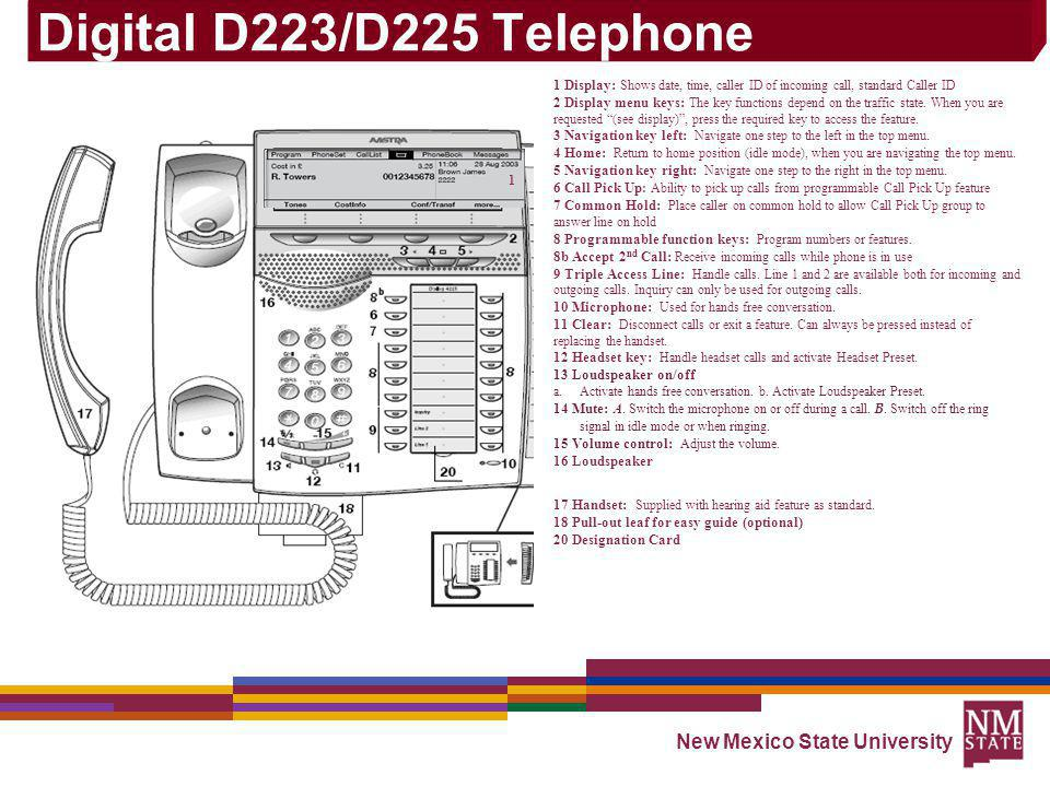 Digital D223/D225 Telephone New Mexico State University