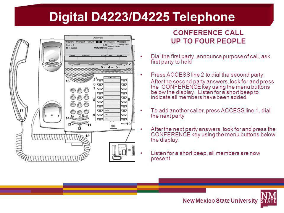 Digital D4223/D4225 Telephone CONFERENCE CALL UP TO FOUR PEOPLE