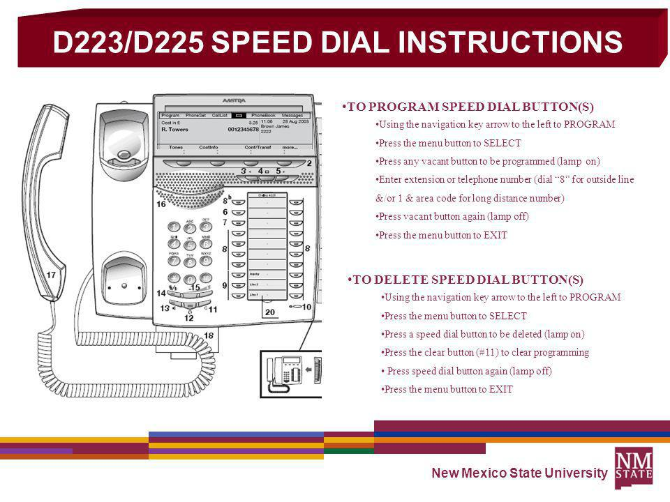 D223/D225 SPEED DIAL INSTRUCTIONS