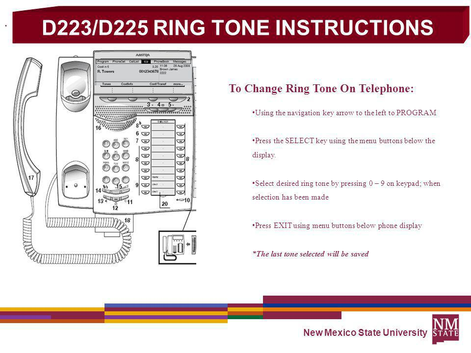 D223/D225 RING TONE INSTRUCTIONS