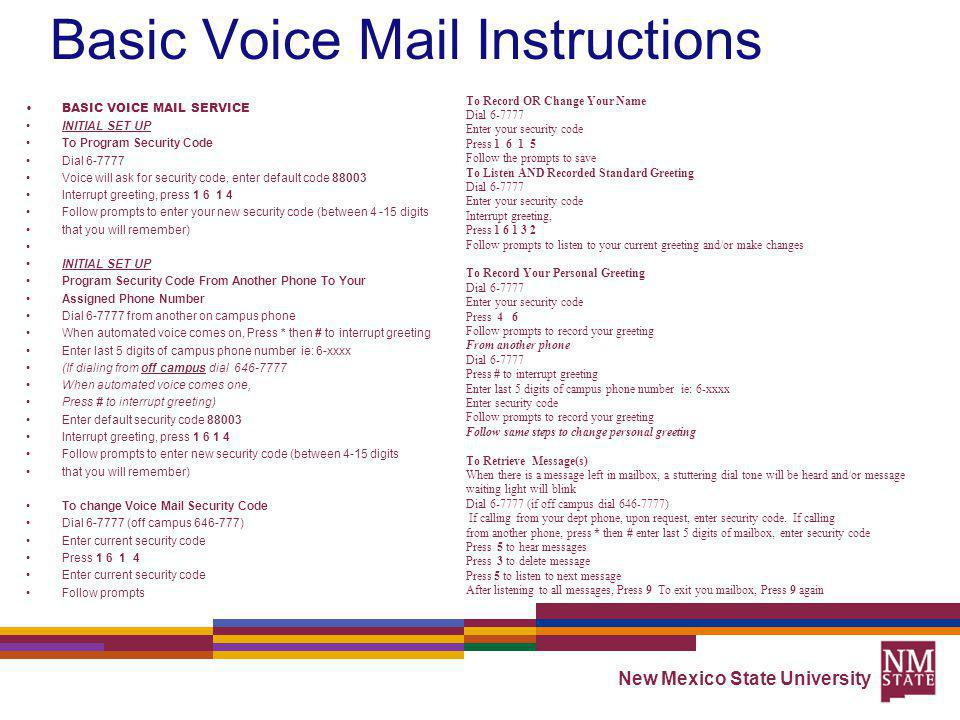 Basic Voice Mail Instructions
