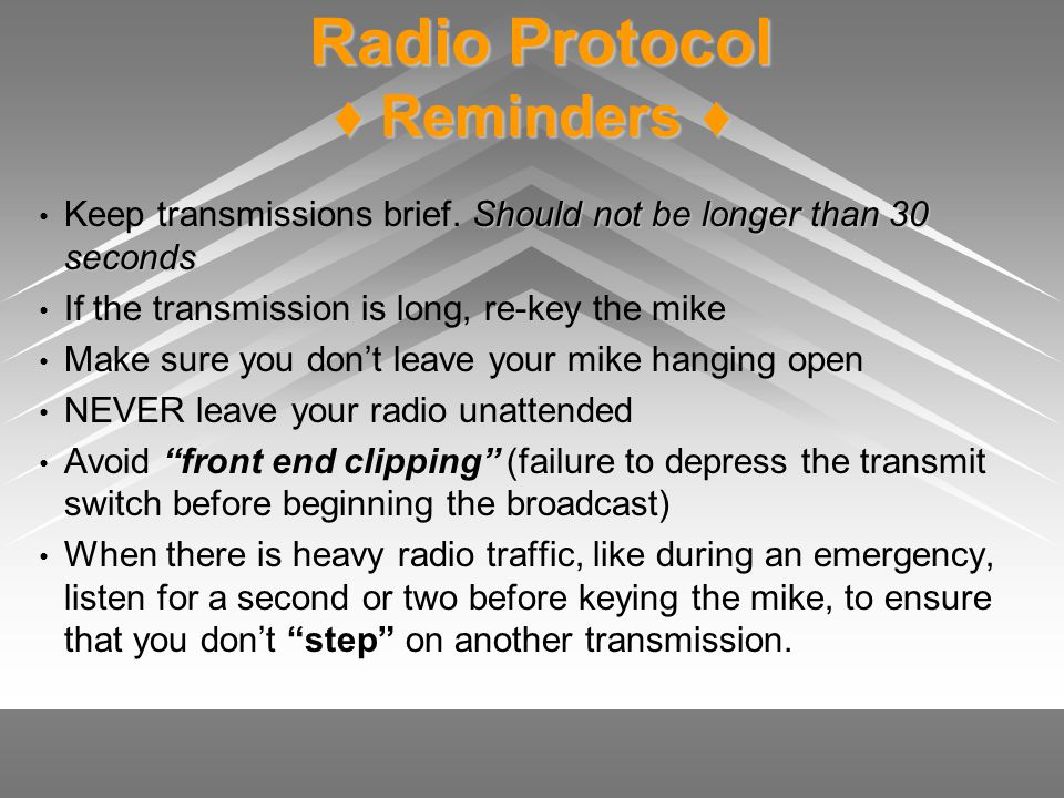 Radio Protocol ♦ Reminders ♦