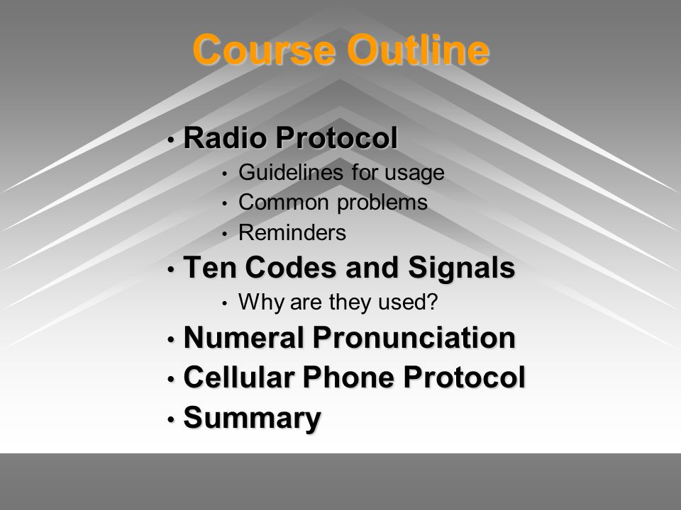 Course Outline Radio Protocol Ten Codes and Signals