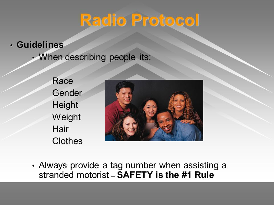 Radio Protocol Guidelines When describing people its: Race Gender