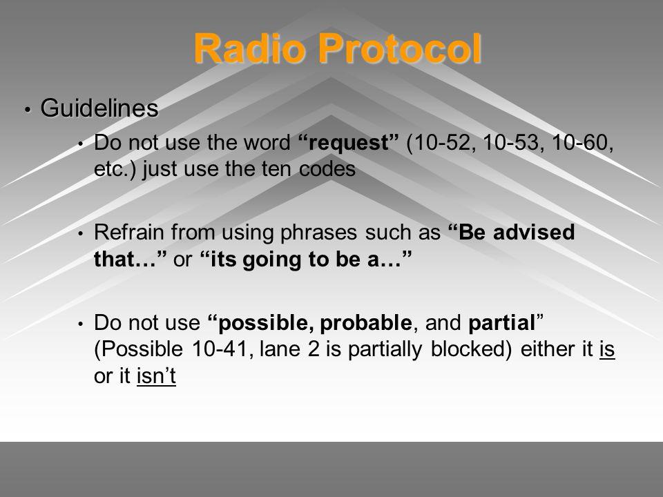 Radio Protocol Guidelines