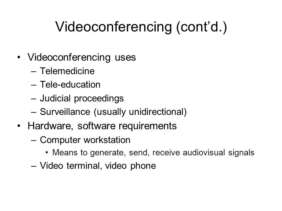 Videoconferencing (cont'd.)