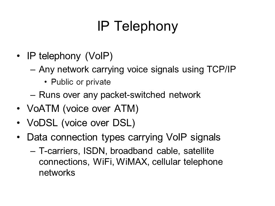 IP Telephony IP telephony (VoIP) VoATM (voice over ATM)