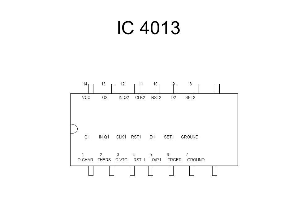 IC 4013 VCC Q2 IN.Q2 CLK2 RST2 D2 SET2. Q1 IN.Q1 CLK1 RST1 D1 SET1 GROUND.