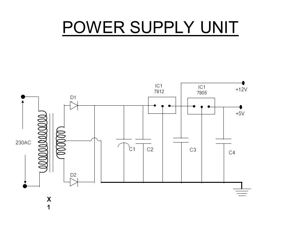POWER SUPPLY UNIT X 1 +12V 9V +5V 230AC C1 C2 C3 C4 IC1 7812 7805 D11