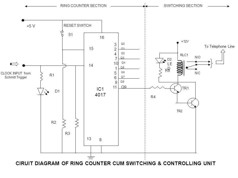CIRUIT DIAGRAM OF RING COUNTER CUM SWITCHING & CONTROLLING UNIT