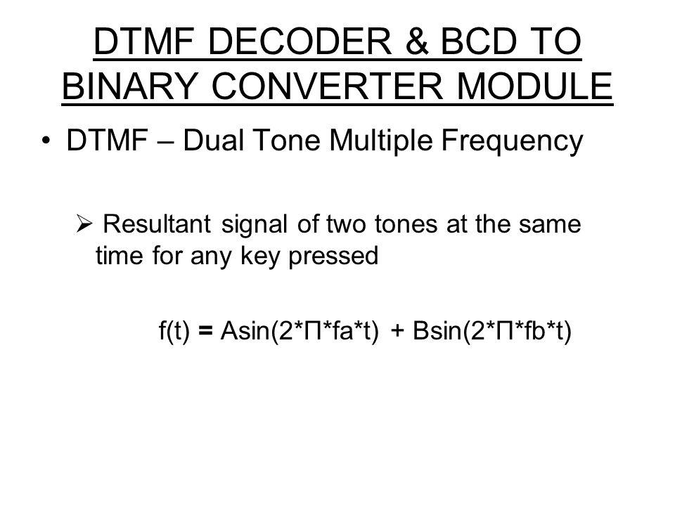 DTMF DECODER & BCD TO BINARY CONVERTER MODULE