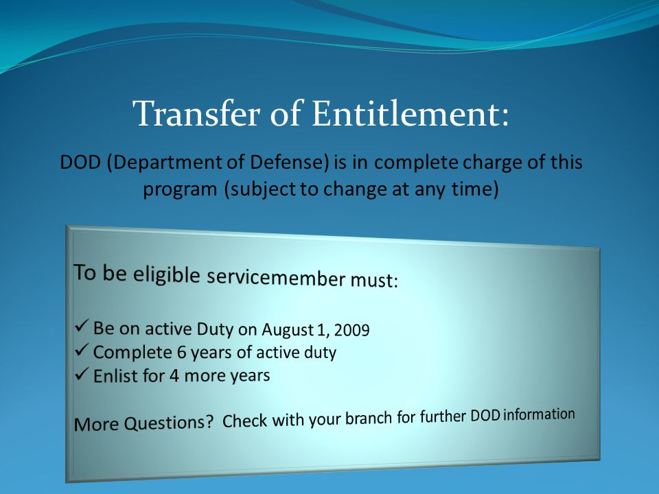 Transfer of Entitlement: