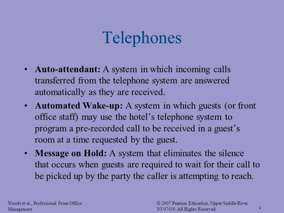 Telephones Auto-attendant: A system in which incoming calls transferred from the telephone system are answered automatically as they are received.