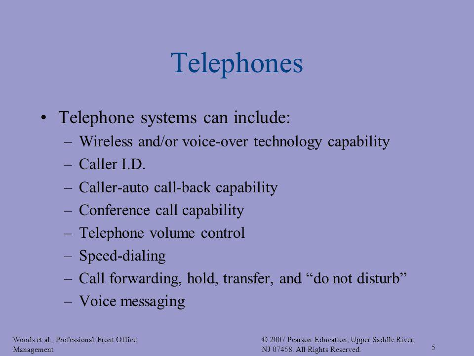 Telephones Telephone systems can include:
