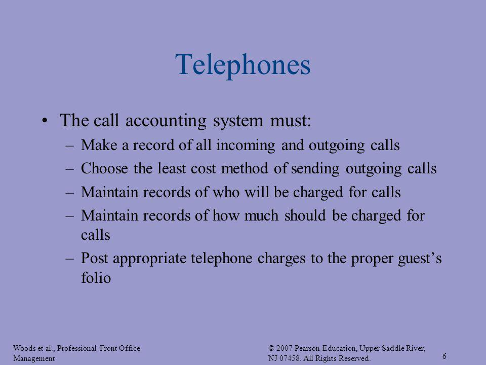 Telephones The call accounting system must: