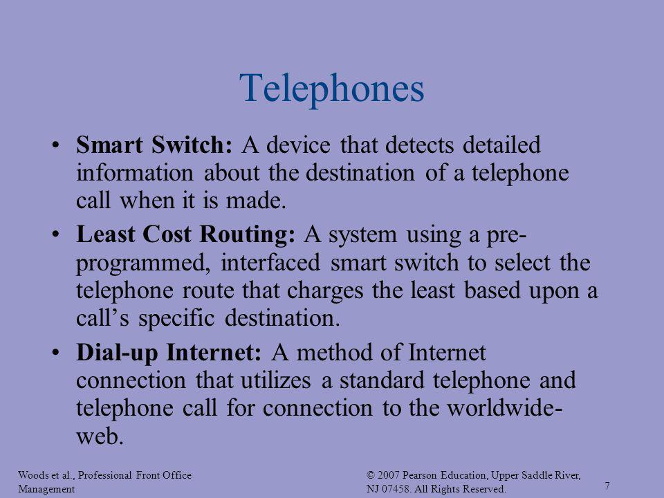 Telephones Smart Switch: A device that detects detailed information about the destination of a telephone call when it is made.
