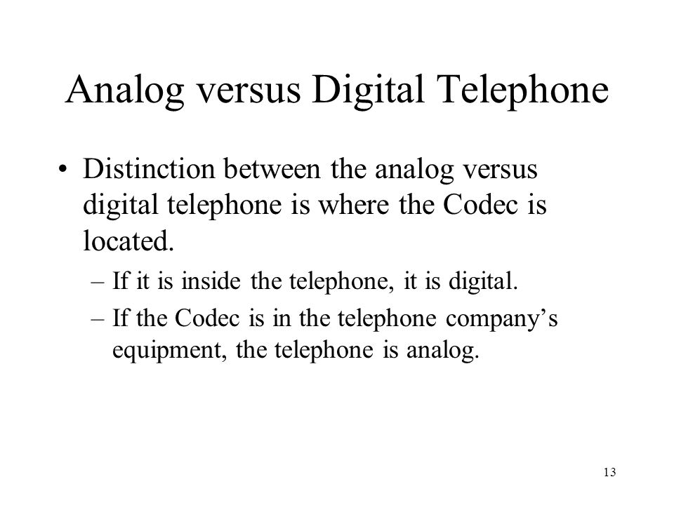 Analog versus Digital Telephone
