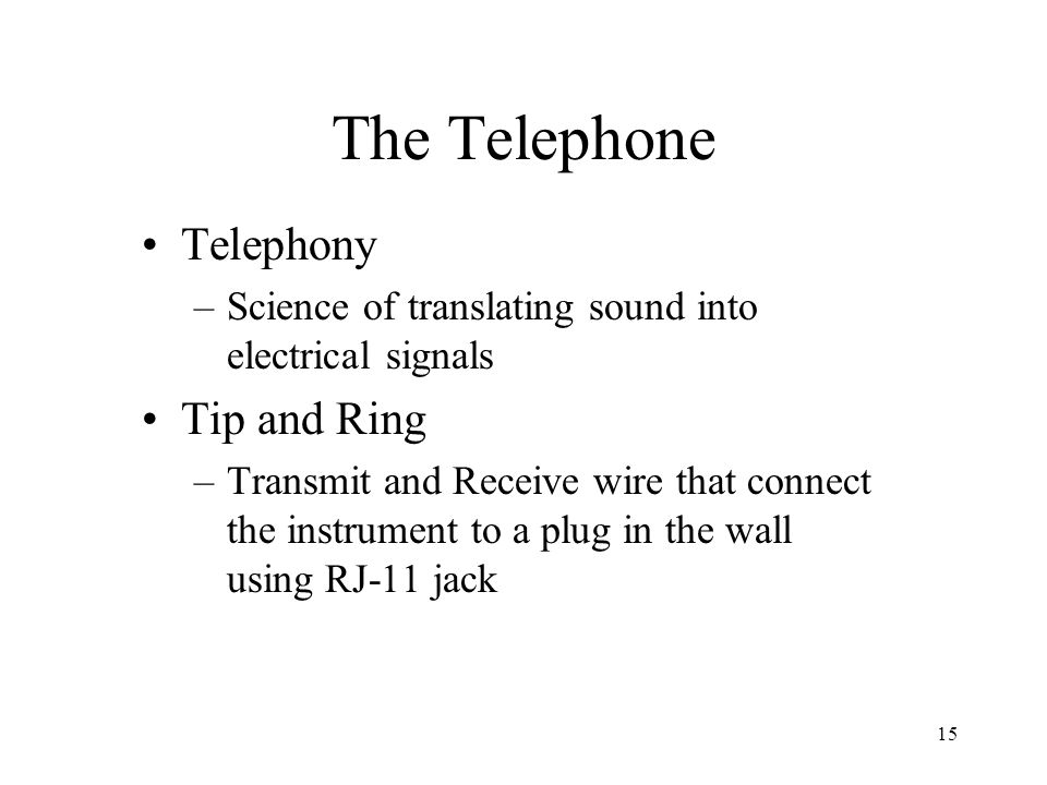 The Telephone Telephony Tip and Ring