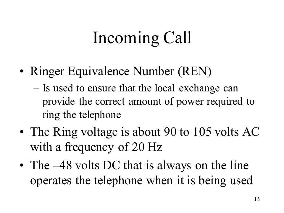 Incoming Call Ringer Equivalence Number (REN)