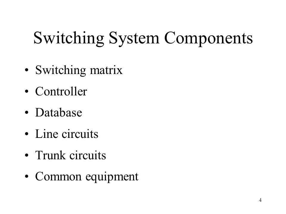 Switching System Components