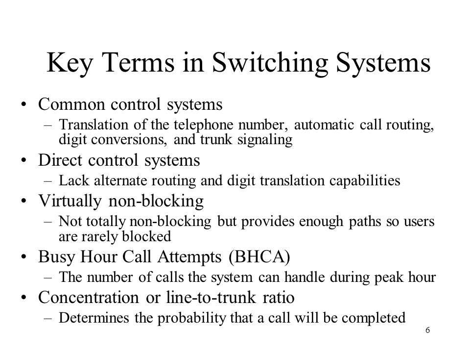 Key Terms in Switching Systems