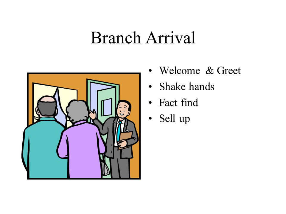 Branch Arrival Welcome & Greet Shake hands Fact find Sell up