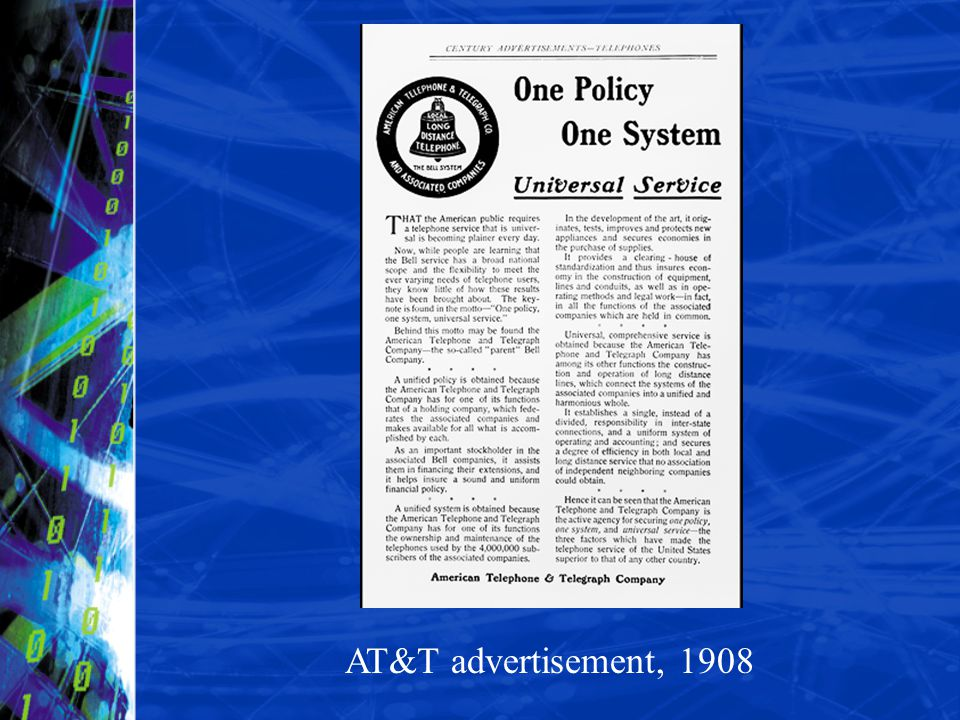 Ad, One Policy, One System, Universal Service