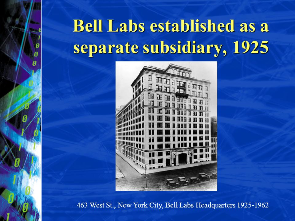 Bell Labs established as a separate subsidiary, 1925