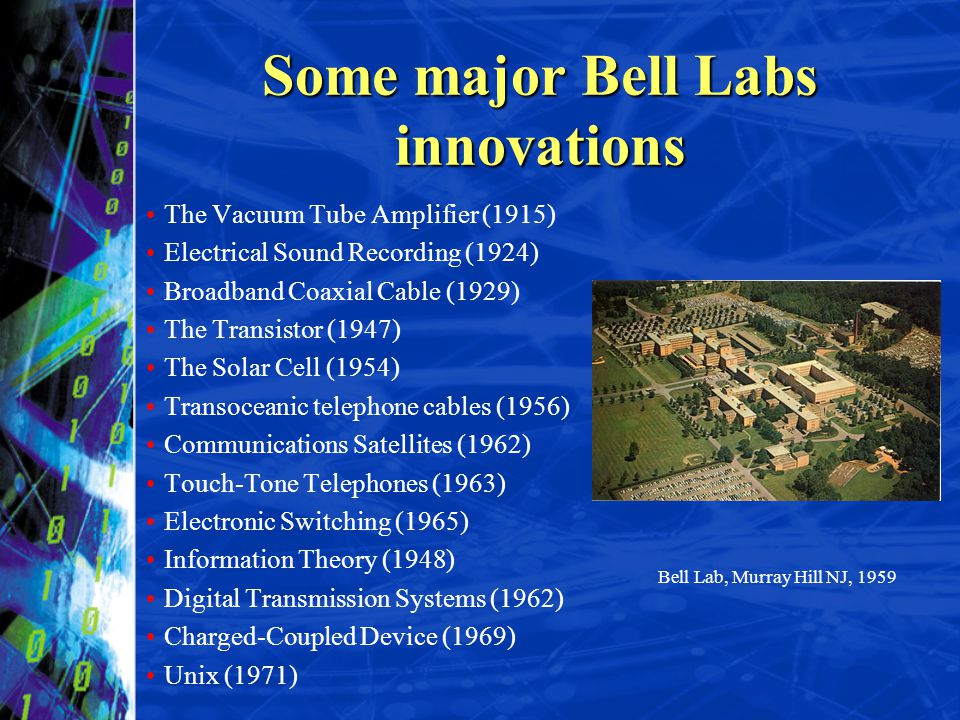 Some major Bell Labs innovations