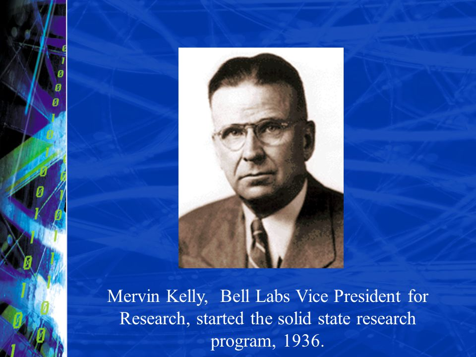 Mervin Kelly, Bell Labs Vice President for Research, started the solid state research program, 1936.