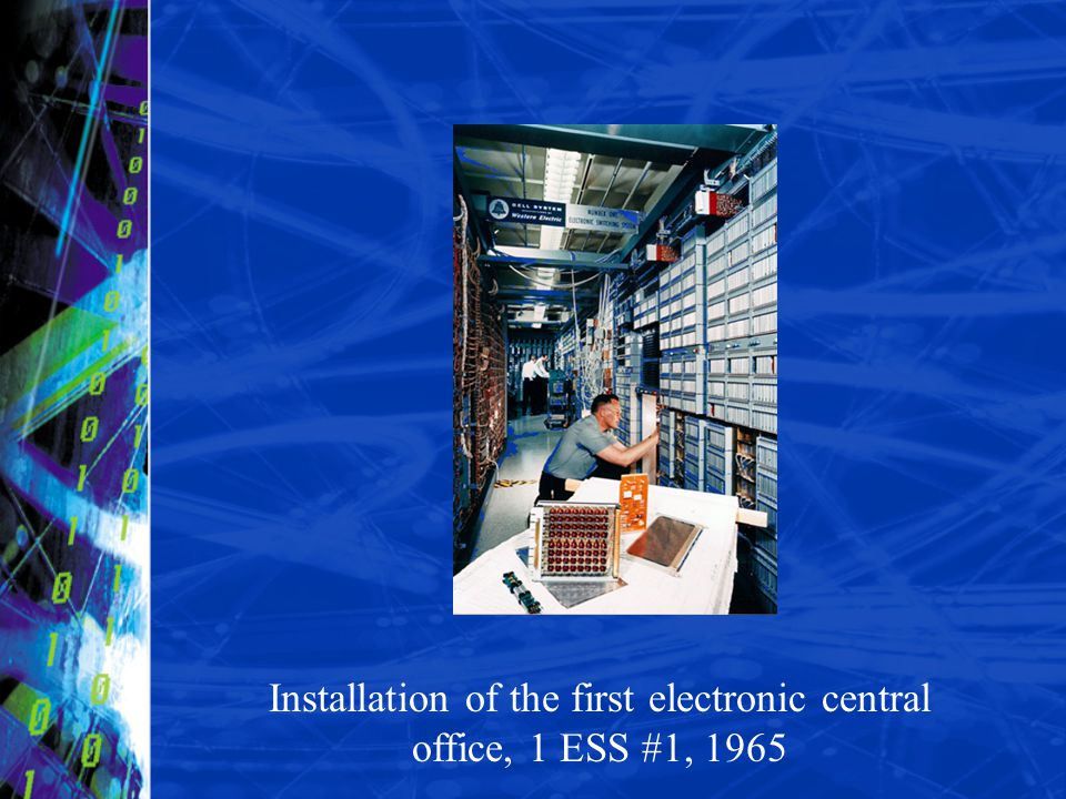 Installation of the first electronic central office, 1 ESS #1, 1965
