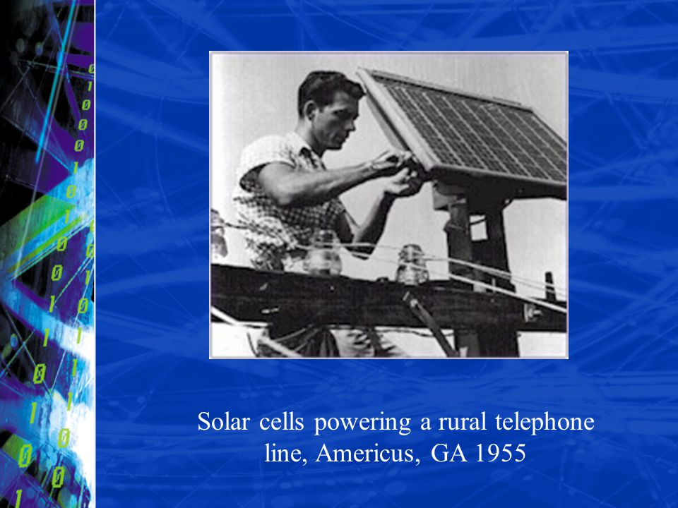 Solar cells powering a rural telephone line, Americus, GA 1955