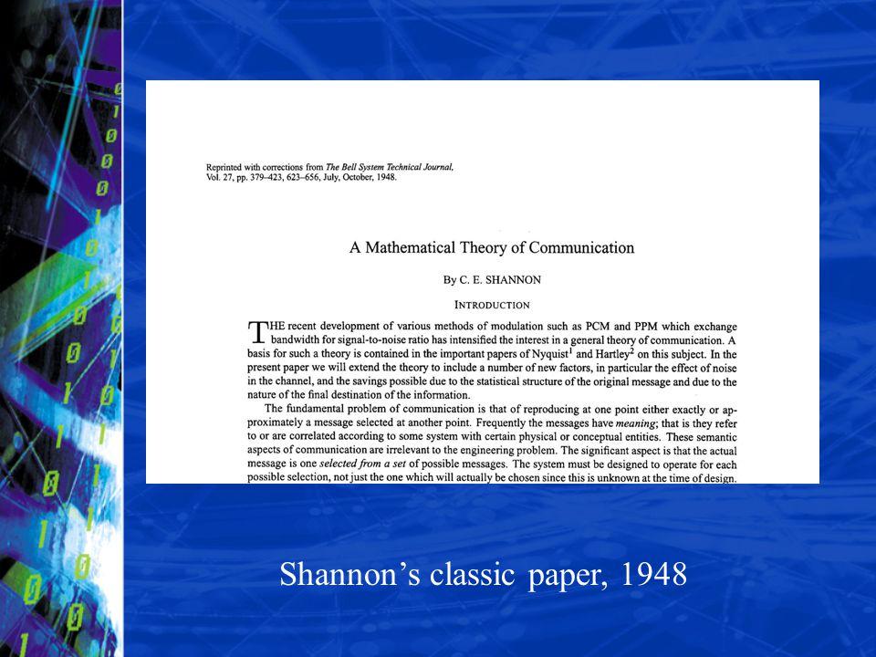 Shannon's classic paper, 1948