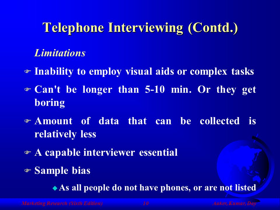 Telephone Interviewing (Contd.)