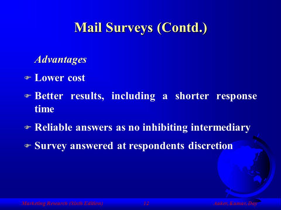 Mail Surveys (Contd.) Advantages Lower cost