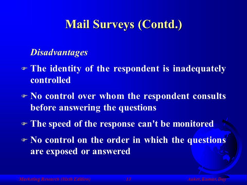 Mail Surveys (Contd.) Disadvantages