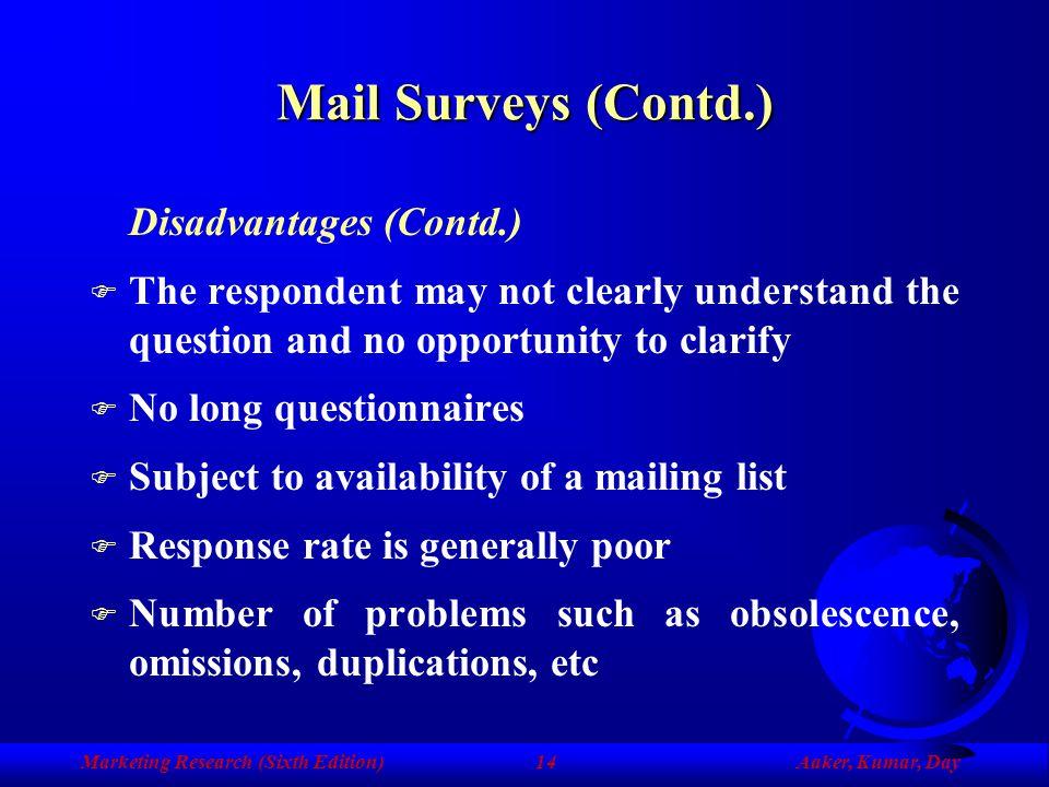 Mail Surveys (Contd.) Disadvantages (Contd.)