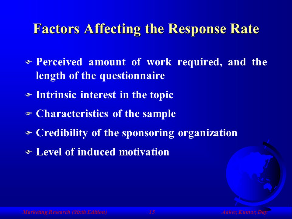 Factors Affecting the Response Rate