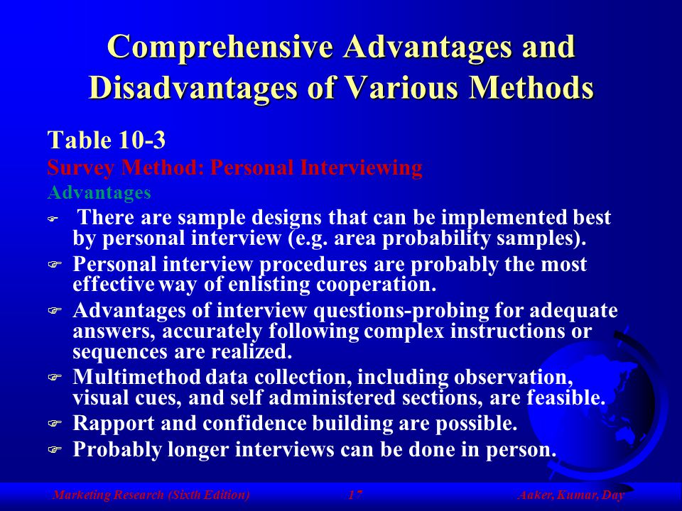 Comprehensive Advantages and Disadvantages of Various Methods