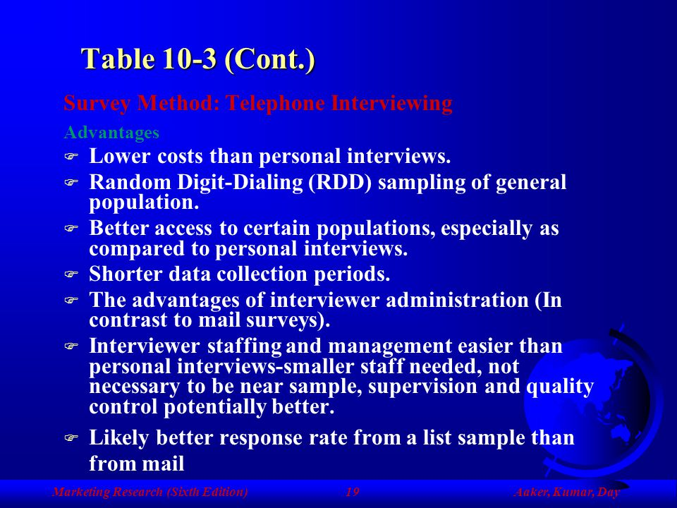 Table 10-3 (Cont.) Survey Method: Telephone Interviewing